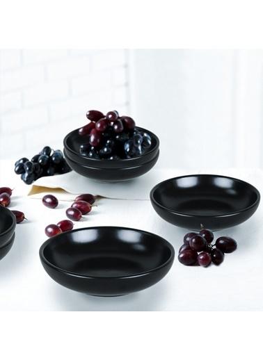 Keramika Mat Siyah Halka Çerezlik/Sosluk 13 Cm 6 Adet Renkli